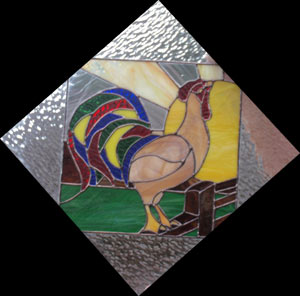 Rooster Glass Art